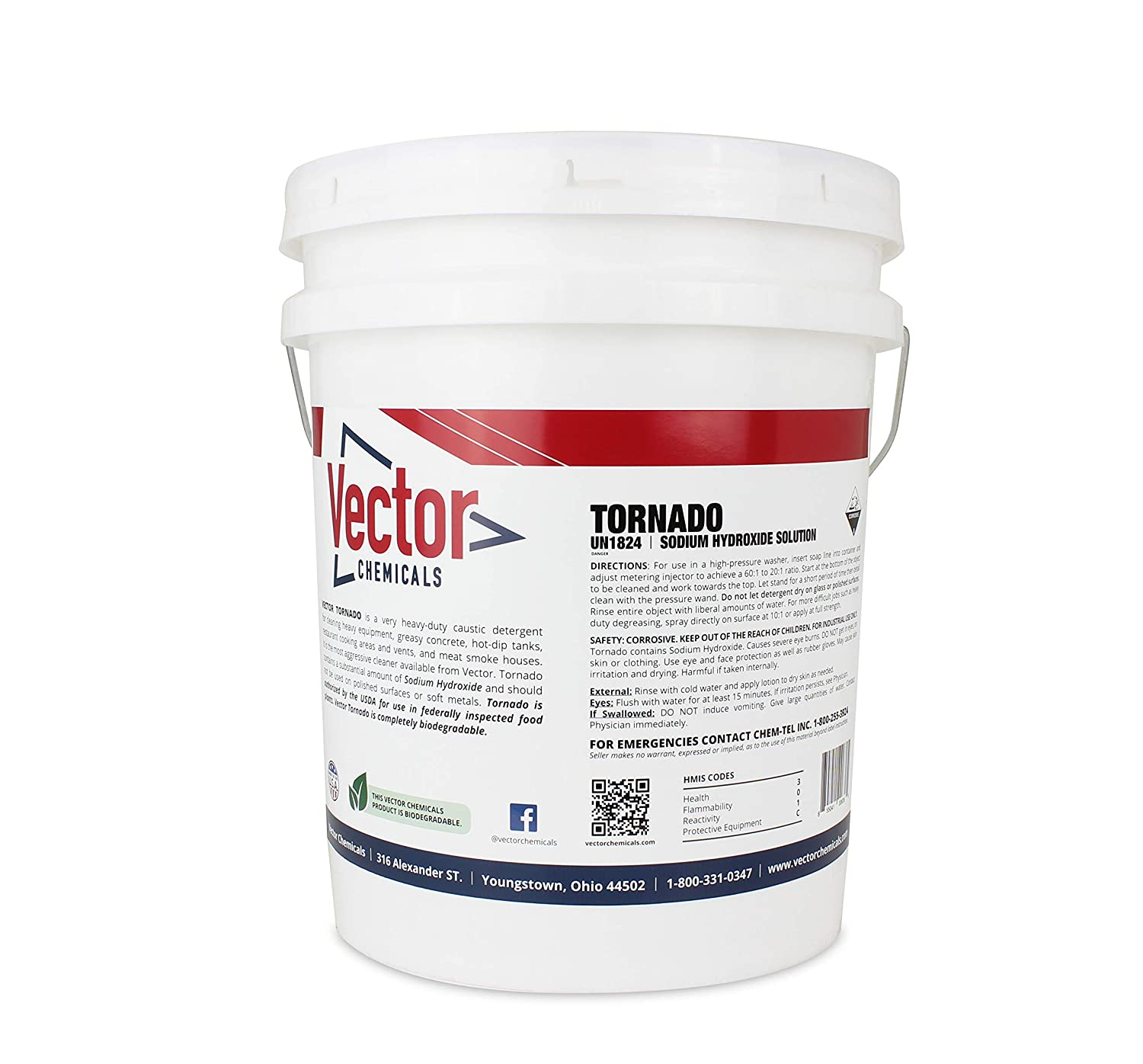 The Absolute Best Gutter Cleaning Concentate for Pressure and Soft Washing - Vector Tornado - 5 Gallon Pail Pack (with pail) - Makes up to 250 gallons of cleaner