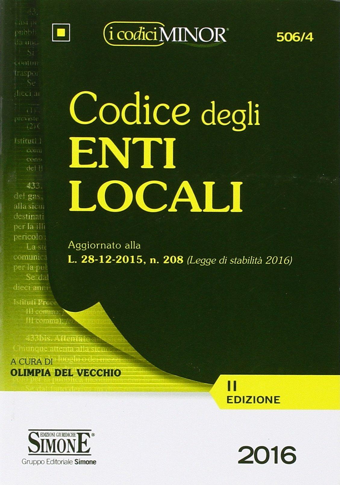Amazon It Codice Degli Enti Locali Ediz Minor Del Vecchio Olimpia Libri
