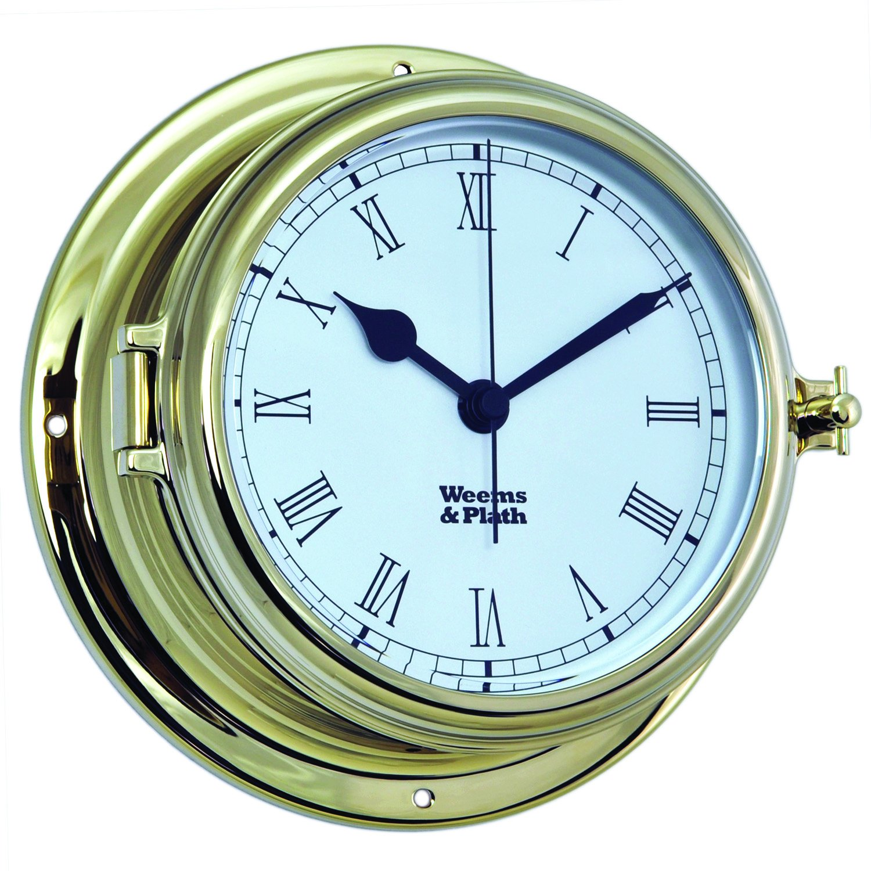 Weems and Plath Endurance II 135 Quartz Clock with Roman Numerals, Brass