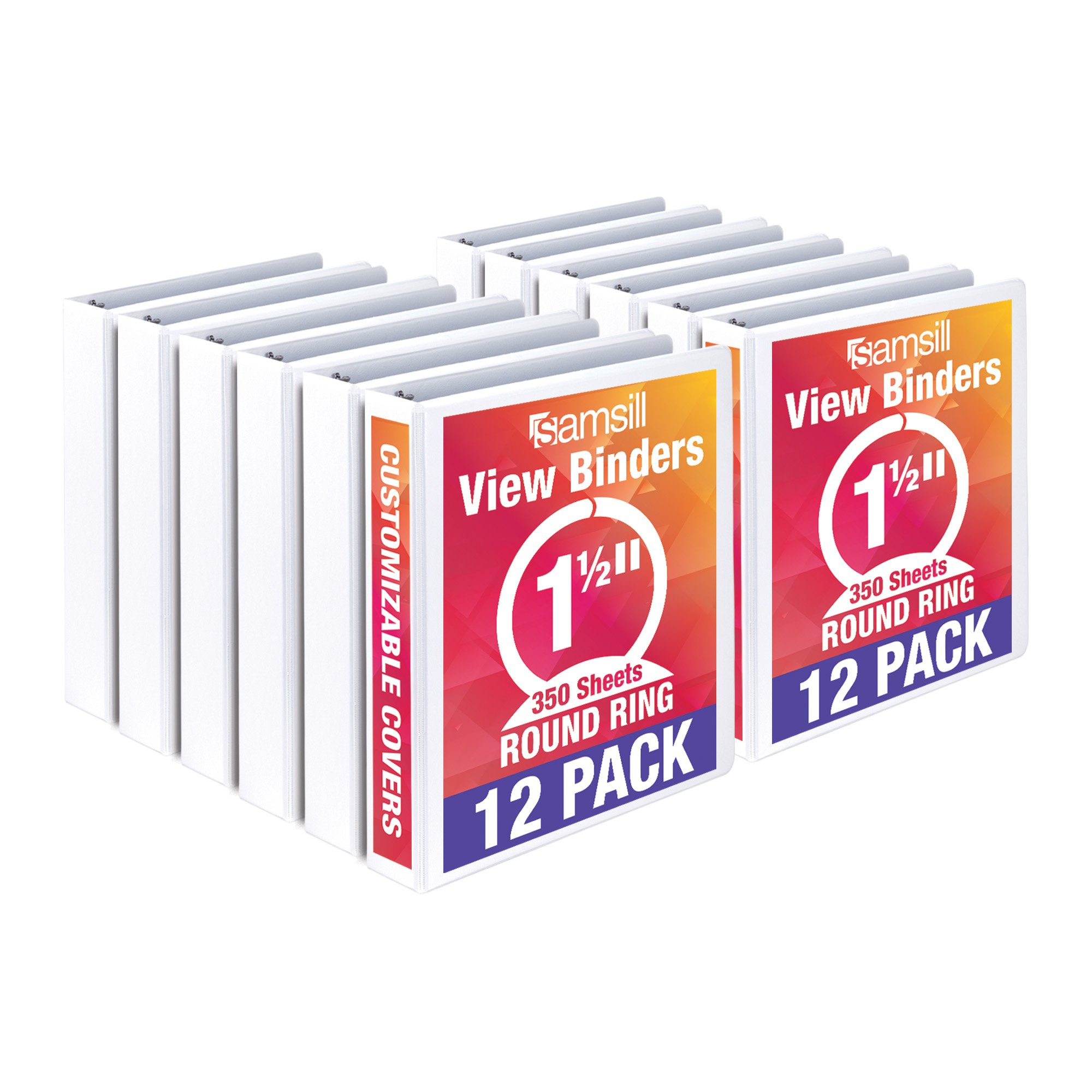 Samsill Economy 3 Ring View Binder, 1.5 Inch Round Ring – Holds 350 Sheets, PVC-Free / Non-Stick Customizable  Cover, White, 12 Pack