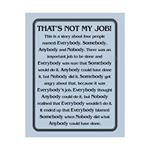 """""""That's Not My Job""""-Motivational Wall Art Sign-8 x 10"""" Humorous Typographic Poster Print-Ready to Frame. Ideal Home-Office-School-Décor. Great Sarcastic Desk & Cubicle Sign. Perfect for Teachers!"""