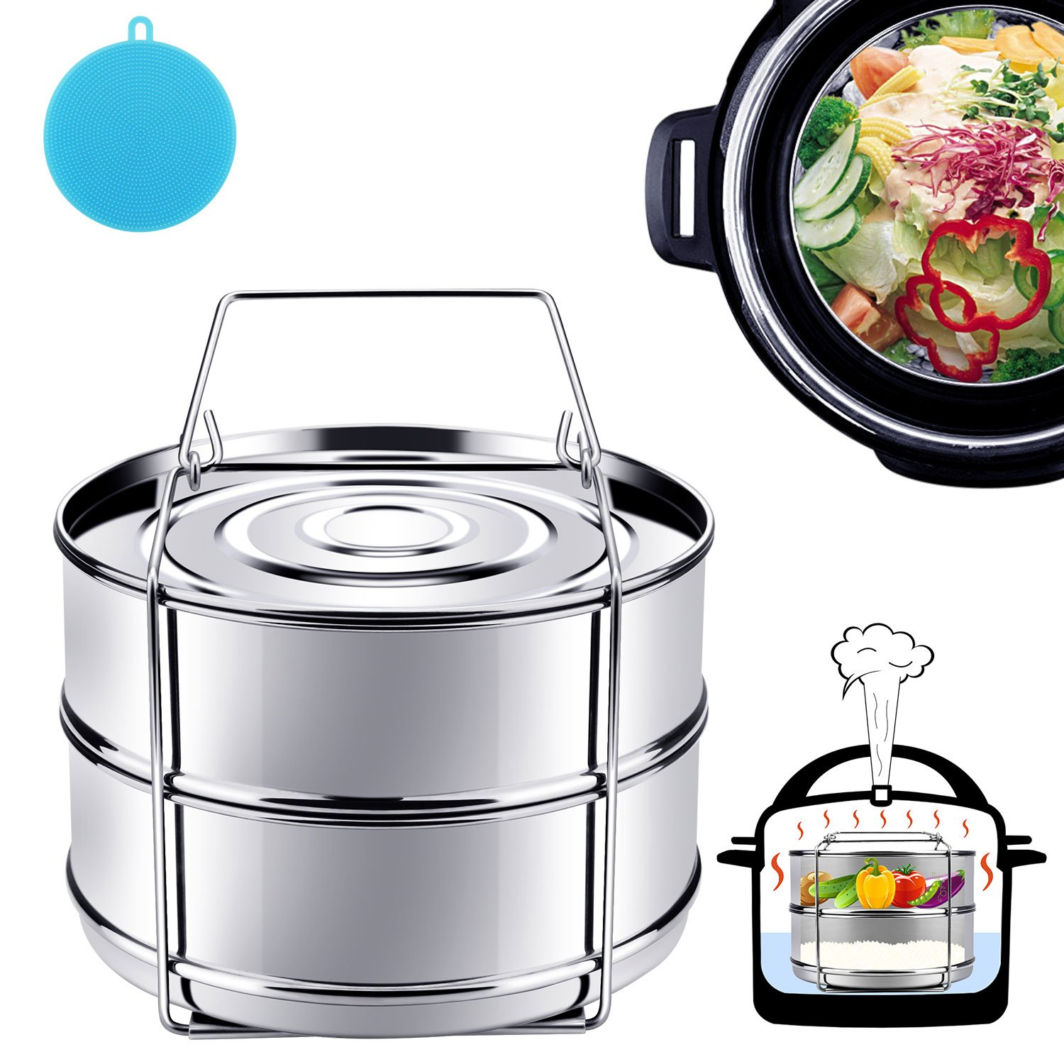 Instant Pot Accessories, Steamer Insert Pans for 6qt/8qt Pressure Cooker, BBing Stackable Stainless Steel Vegetable Steamer with Sling