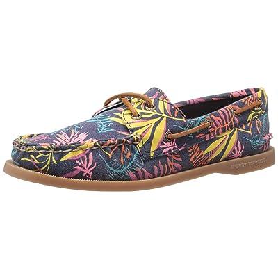 Sperry Women's A/O 2 Eye Seaweed Print Pink Multi Boat Shoe, 5.5 M US | Loafers & Slip-Ons