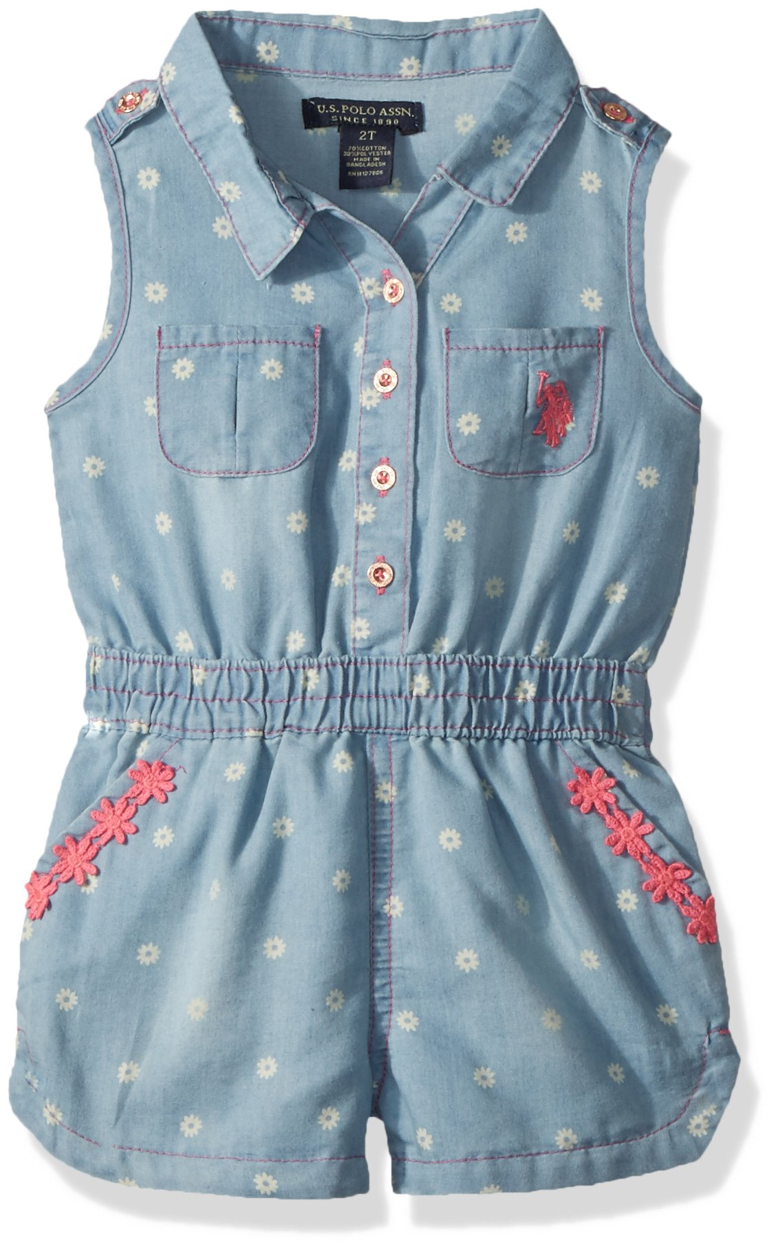 U.S. Polo Assn. Big Girls' Romper, Button Front Daisy Trim Light Wash, 10