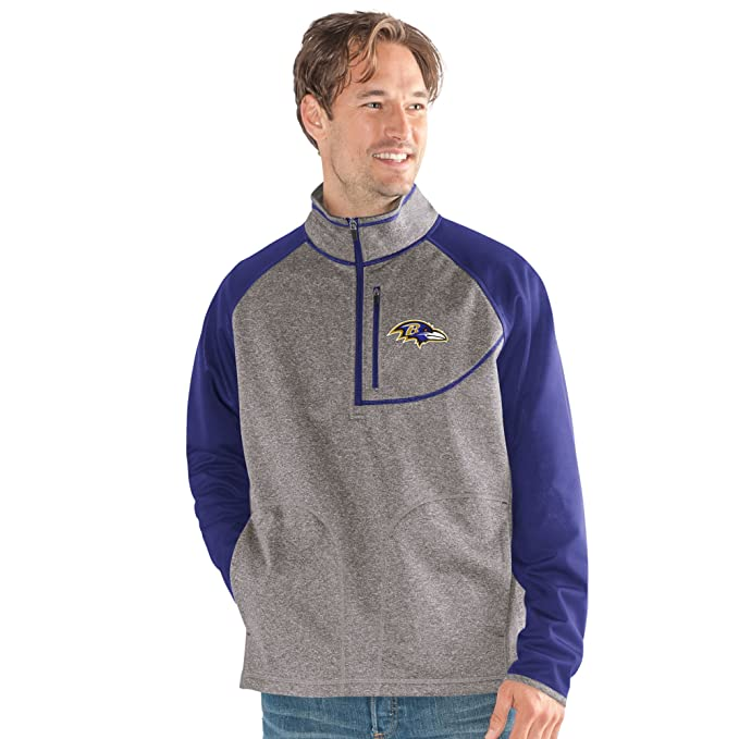 G-III Sports NFL Baltimore Ravens Mountain Trail Half Zip Pullover, XX-Large, Gray