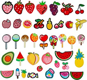 DOXU 40Pcs Colorful Fancy Sweet Lollipop Iron on Patches Sew On/Iron On Embroidered Patches for Girls Hair Clips,Kids Clothes,Bag,Dress,Hat Applique Decorative Accessory Candy (DX-25-40pcs)