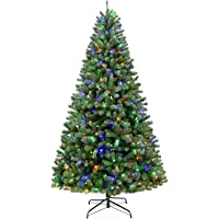 Hykolity 6.5 ft Prelit Artificial Christmas Tree with 350 Color Changing LED Lights, 1100 Tips, Metal Stand and Hinged…