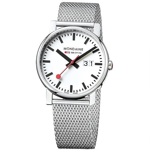 Mondaine SBB Evo Big Date 40mm A6273030311SBM Reloj de pulsera Cuarzo Hombre correa de Acero inoxidable Plateado: Amazon.es: Relojes