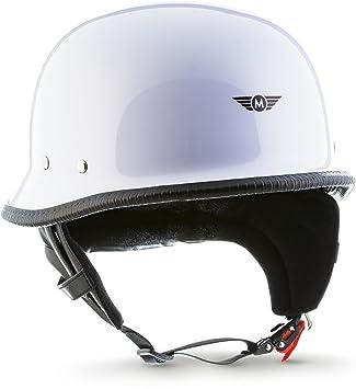 "Casco jet de media carcasa Moto · D33""White"" · casco de moto retro"