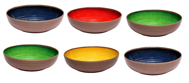 Melange 6-Piece 100% Melamine Pasta Bowl Set