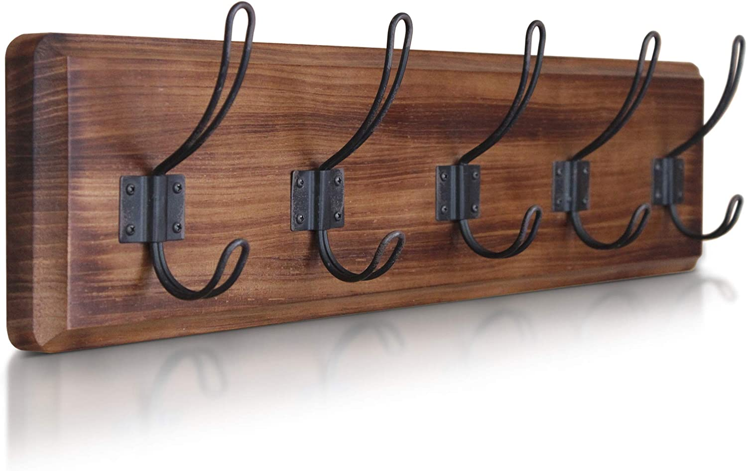"Rustic Coat Rack - Wall Mounted Wooden 24"" Entryway Coat Hooks - 5 Rustic Hooks, Solid Pine Wood. Perfect Touch for Your Entryway, Kitchen, Bathroom. (Rustic Brown)"