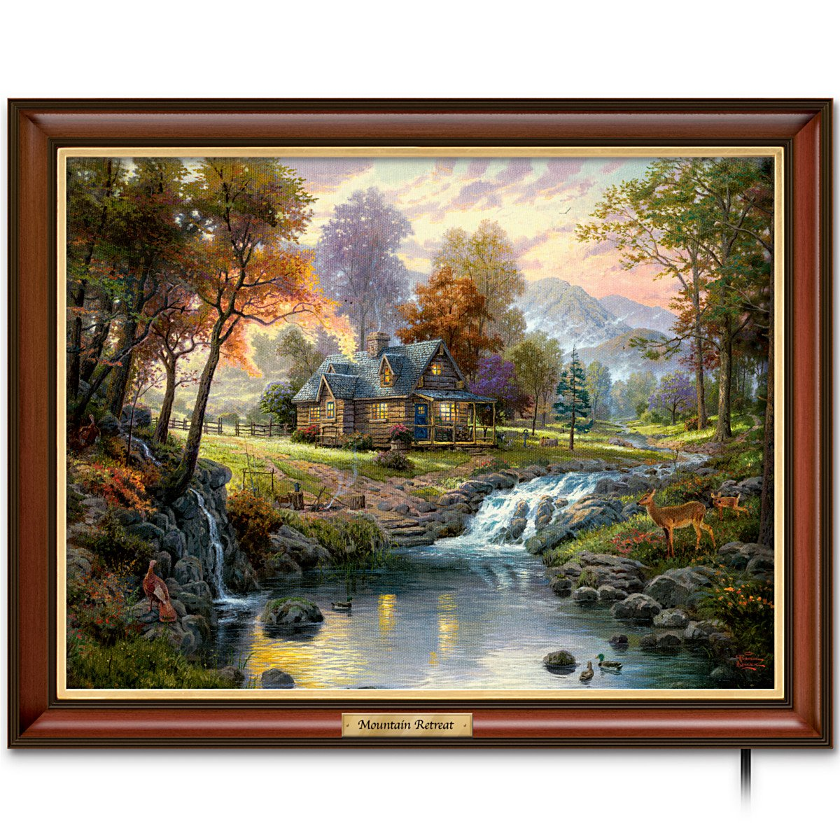 Amazon.com: Thomas Kinkade Canvas Print Wall Decor: Mountain Retreat ...