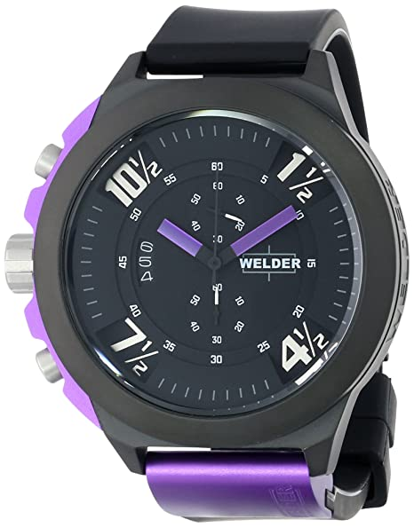Welder K33 9303 - Reloj analógico unisex de cuarzo con correa de goma negra - sumergible
