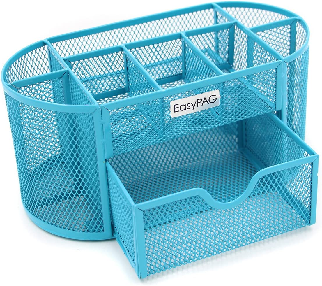 EasyPAG Mesh Desk Organizer 9 Components Office Accessories Supply Caddy with Drawer,Blue