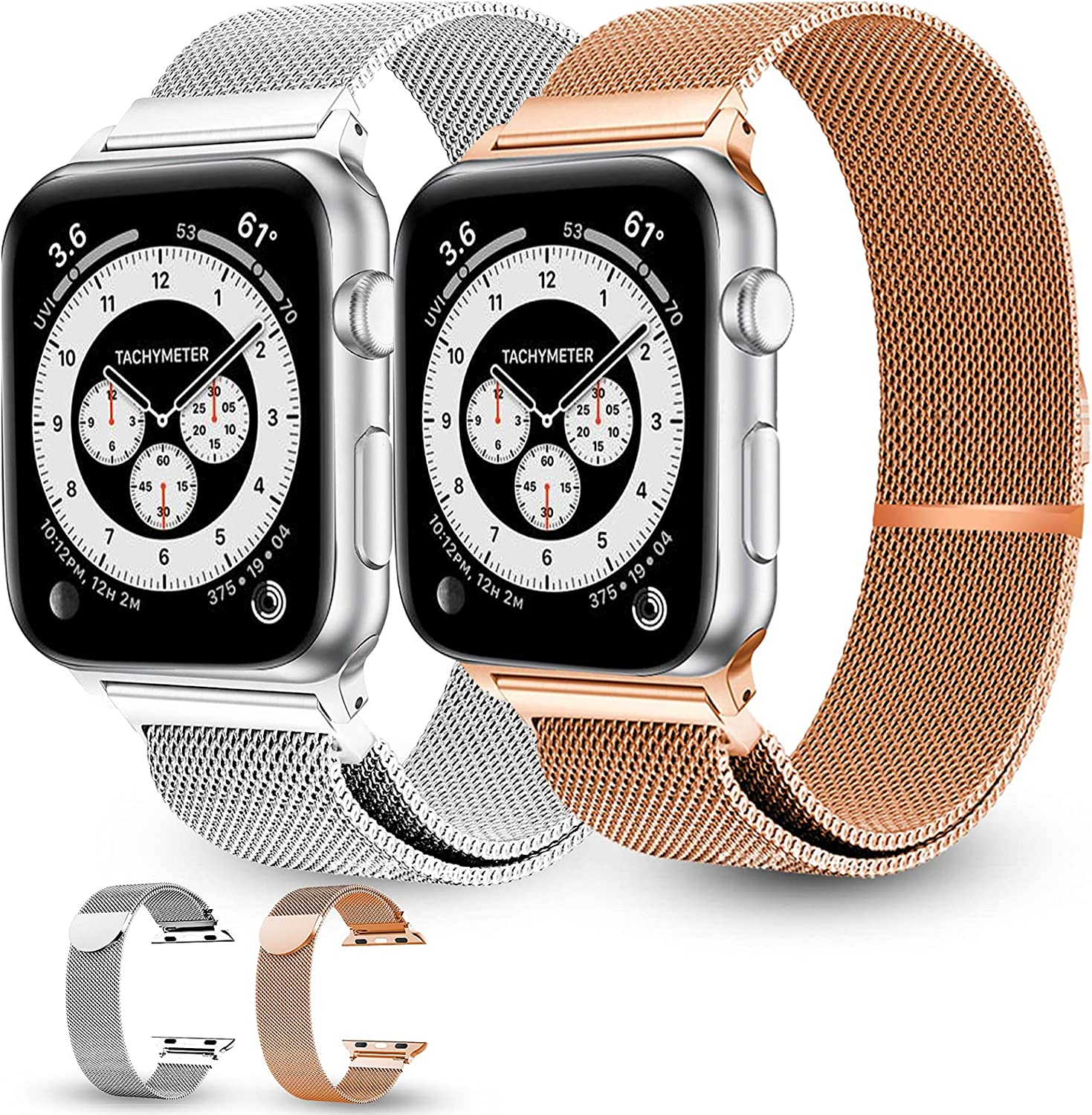 Stainless steel Mesh Magnetic Watch Bands Compatible with Apple Watch 38mm 40mm 42mm 44mm Series 6/5/4/3/2/1 SE,2 packs Adjustable Stainless Steel Straps are Suitable for All Adults