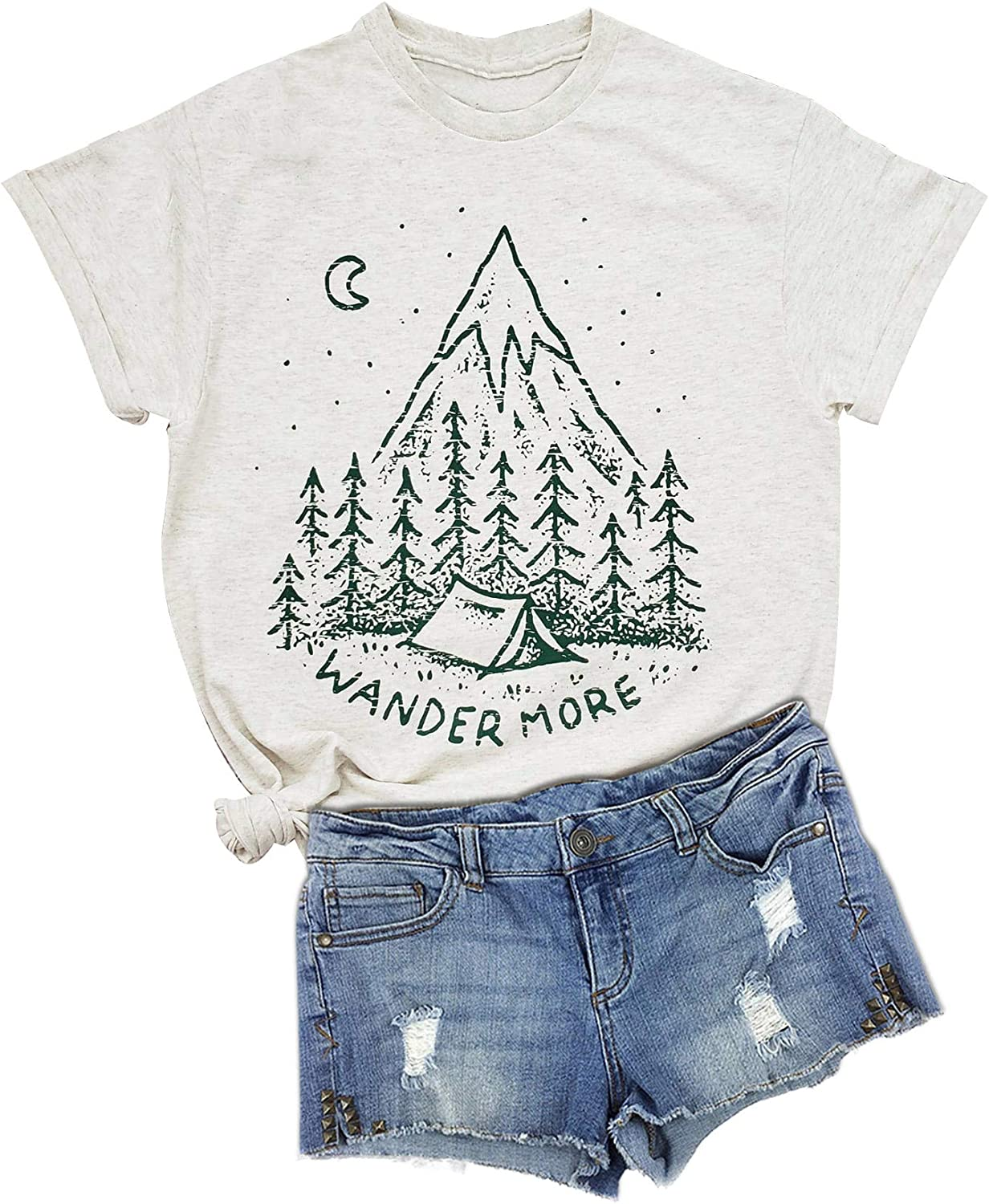 GEMLON Camping Shirts for Women Vintage Nature Graphic Tee Travel T-Shirt Short Sleeve Summer Outfits