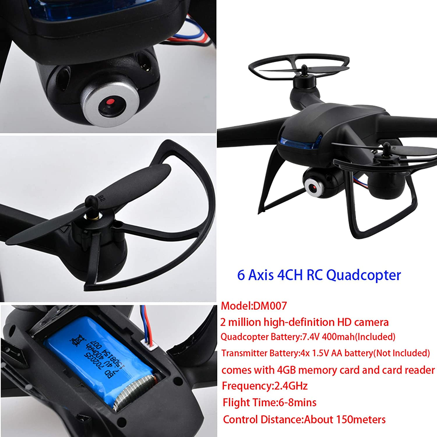 CRAVOG DM007 2.4GHz 4CH RC Quadcopter 6 Axis Gyro Explorer RC Drone With  2MP HD Camera Black: Amazon.co.uk: Toys & Games
