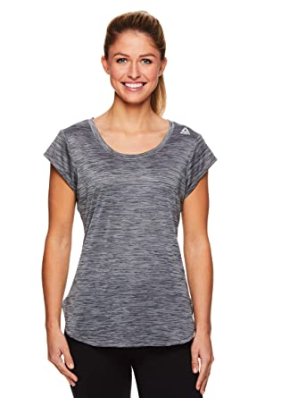 8c80b19a0ffa Reebok Women's Legend Performance Short Sleeve T-Shirt with Polyspan Fabric  - Black Black Heather