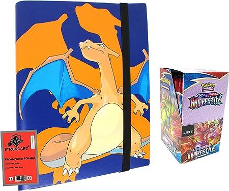 STRONCARD® Pokemon Karten Kampfstile Sammelkarten - Ultra Pro Binder Glurak - Schwert & Schild Karten - Set 1 Sammelmappe + 1 Display (18 Booster)