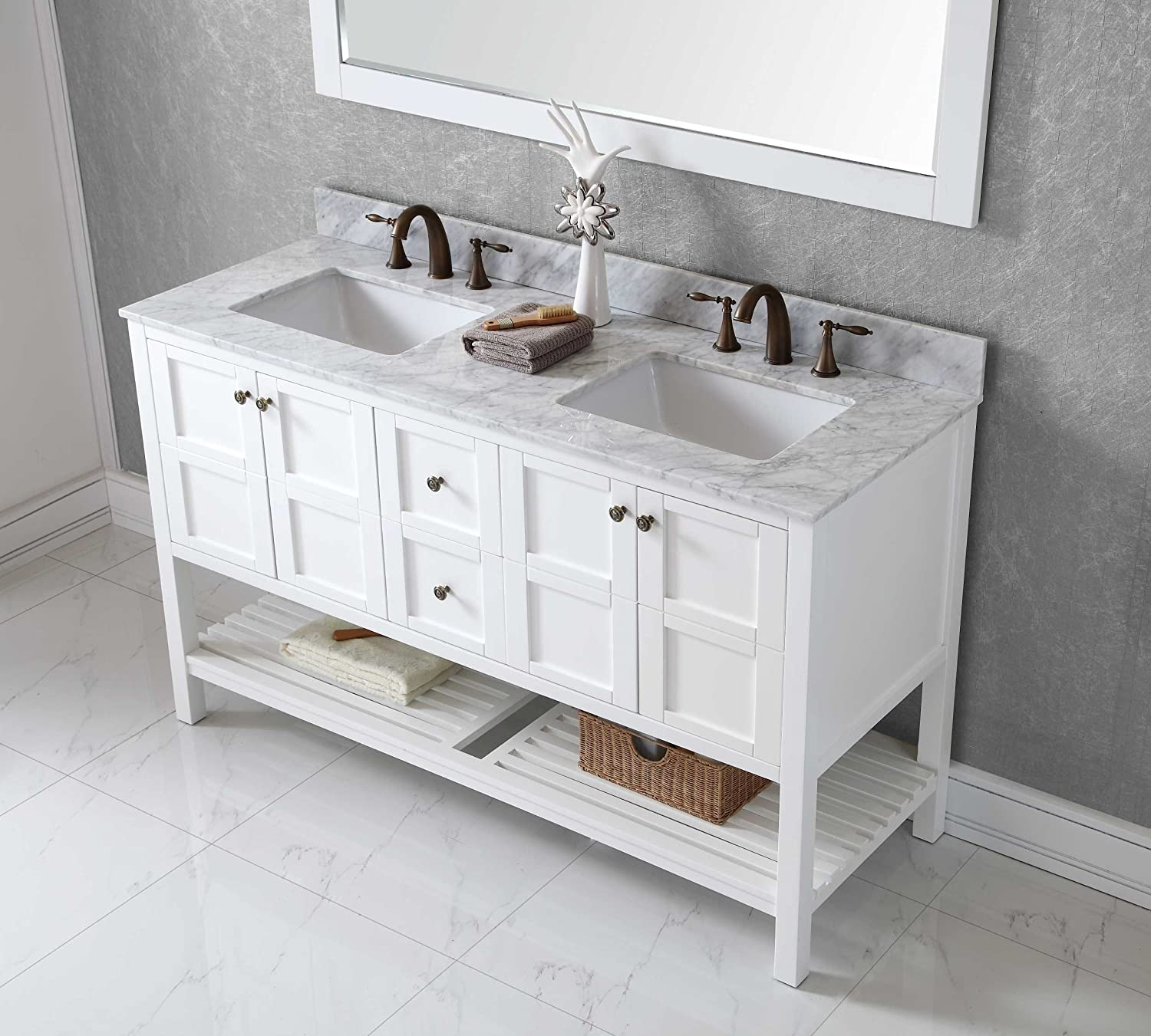 bathroom sink vanity cabinet. Virtu ED 30060 WMSQ WH Winterfell Double Bathroom Vanity Cabinet Set  60 White Amazon com