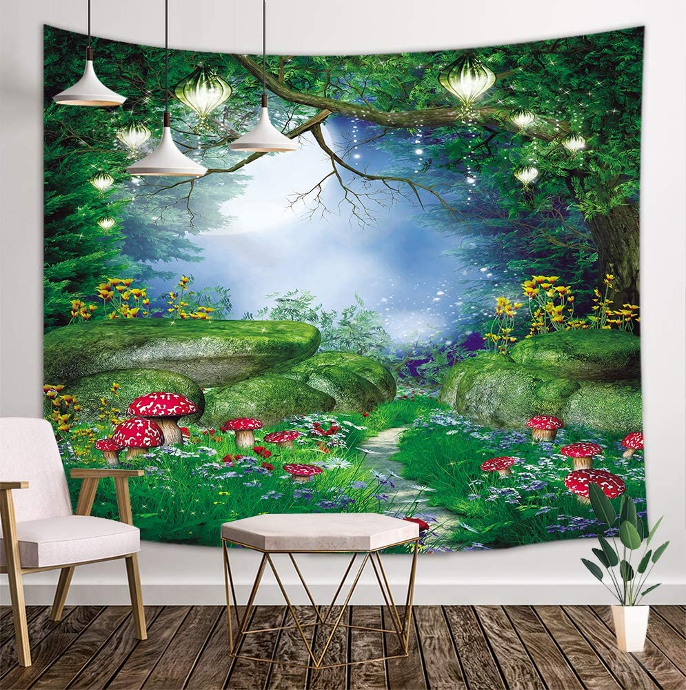 KOTOM Fantasy Forest Tapestry, Trees and Mushrooms in Magic Jungle, Wall Art Hanging Blankets Home Decor for Bedroom Living Room Dorm, 80X60 Inches