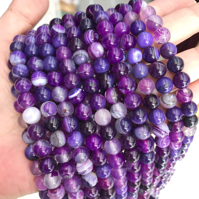 Naturwunder - Perlas de ágata de piedra preciosa, 8 mm, 6 mm, 4 mm, pulidas y mate, forma de bola para joyas, pulseras, cadenas, joyas, varios colores, piedra, Morado pulido, 6mm 18 Stück