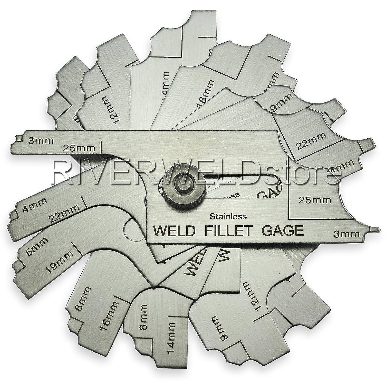 7piece Fillet Weld Set Gage RL Gauge Welding Inspection Test Ulnar Metric RIVERWELDstore