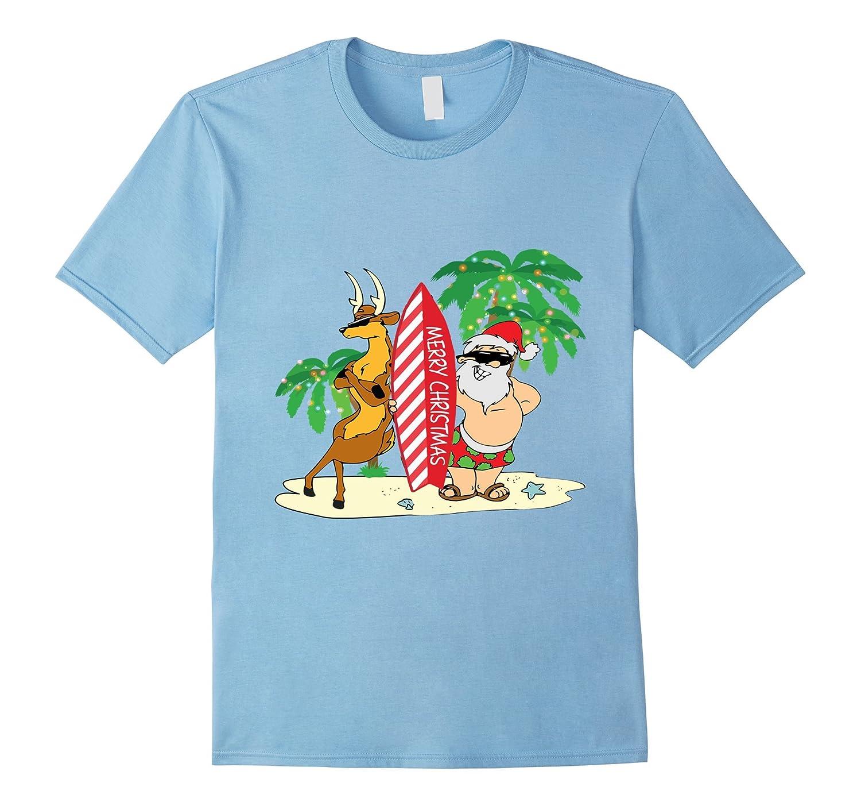 fa8d7b3388c Funny Santa Surfing Hawaiian T-Shirt Summer Christmas Outfit-ANZ ...