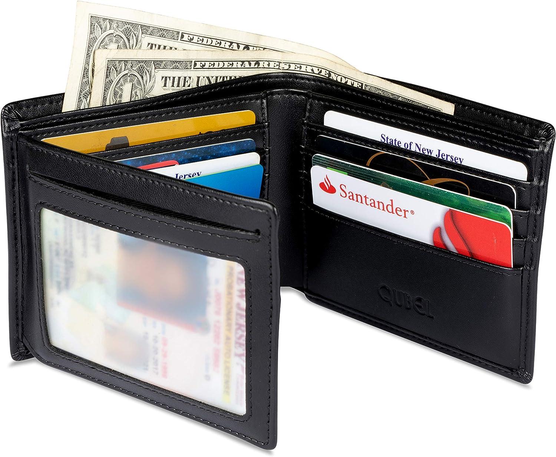Genuine Leather trifold Men/'s wallet 9 credit card 2 ID Billfold Black Wallet BN