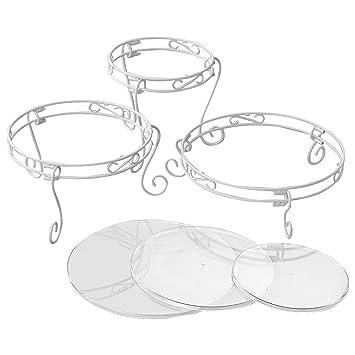 Weisses Verschnorkeltes Torten Und Dessert Stander Set