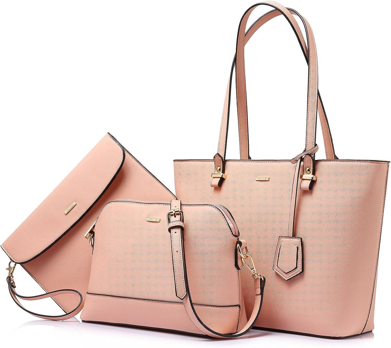 Handbags for Women Tote Bag Fashion Satchel Purse Set Hobo Shoulder Bags Designer Purses 3PCS PU Top Handle Structured Gift