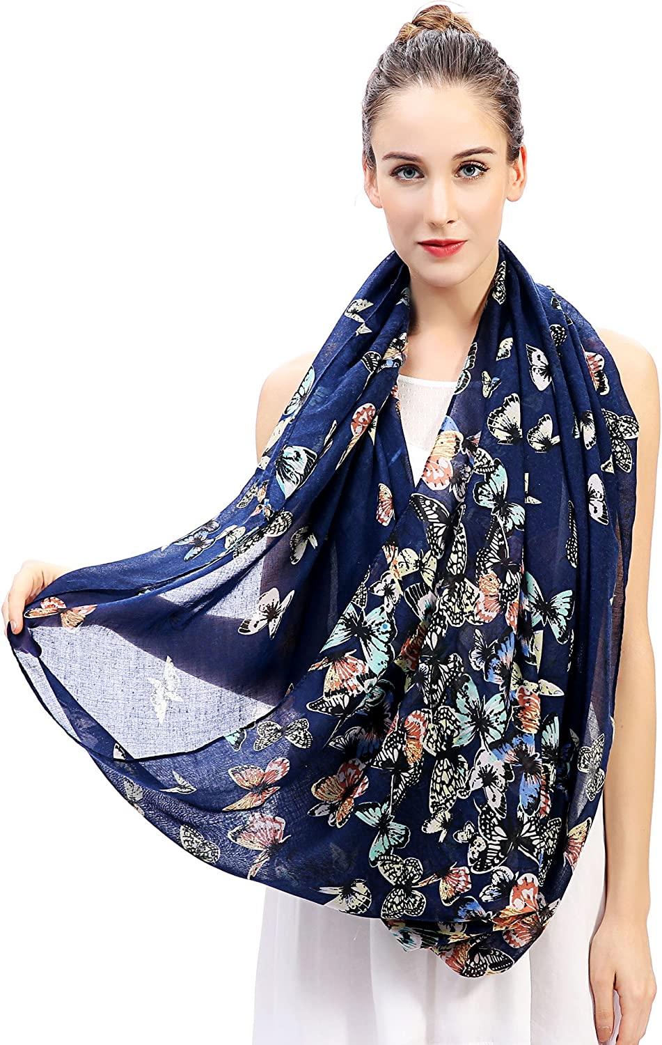 Lina /& Lily Butterfly Print Womens Infinity Scarf Lightweight Blue