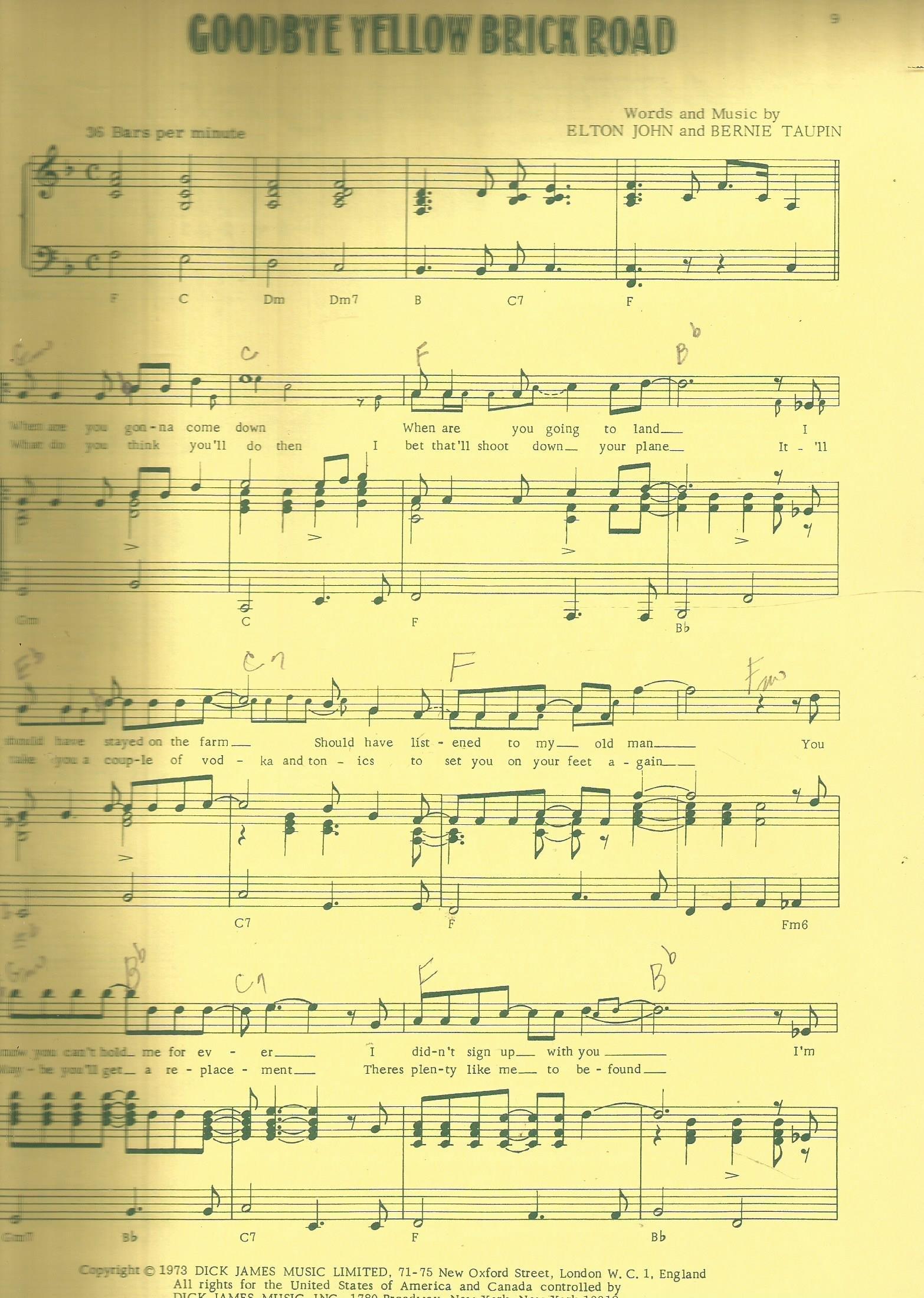 Goodbye Yellow Brick Road Songbook: Elton John, Bernie Taupin: Amazon:  Books