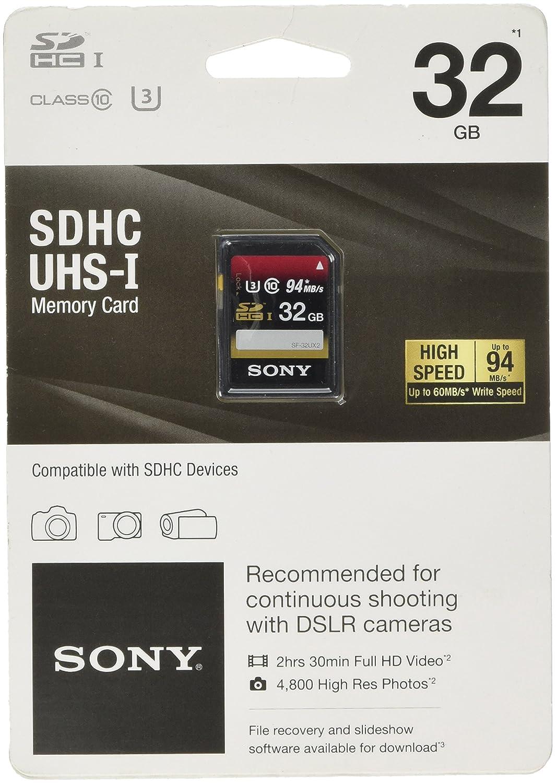 Amazon.com: Sony32GB SDHC UHS-1 Class 10 Memory Card (SF32UX/TQN ...