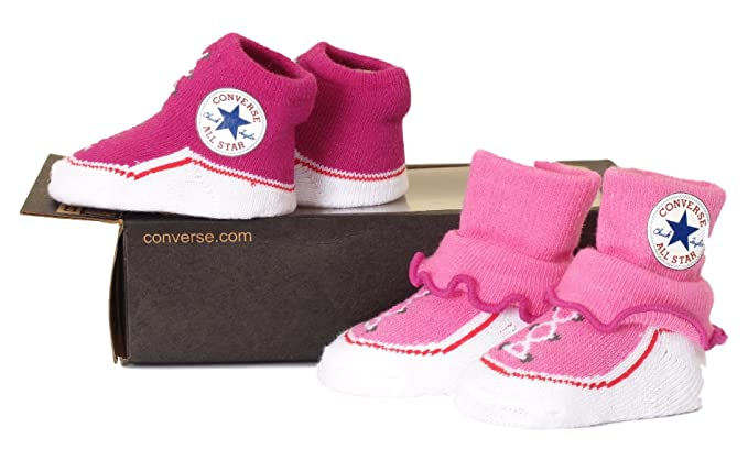 cfd344fe5bc30 Converse Baby Girl's Ruffled Bootie Socks 0-6 Months Dark Pink ...