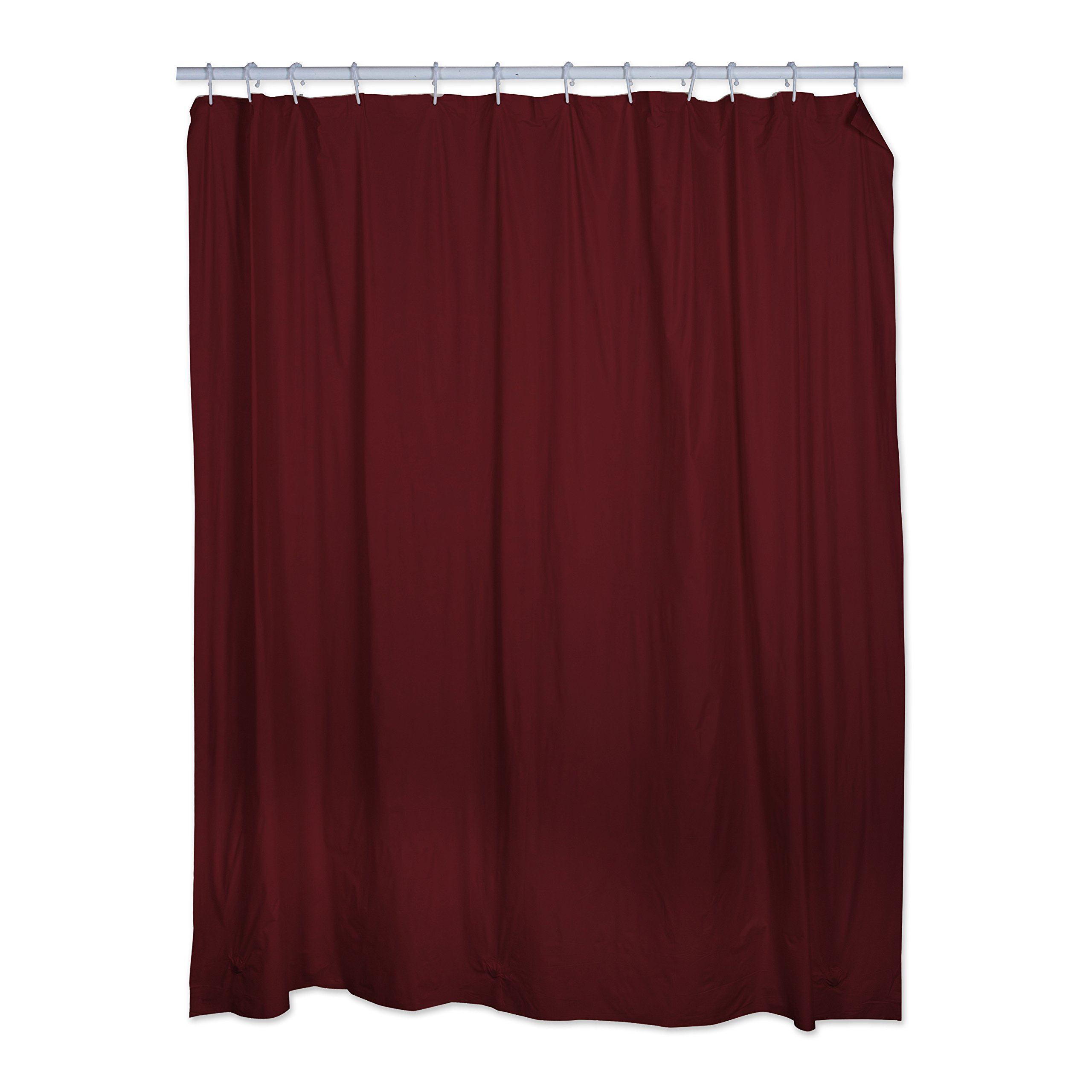 Polyester/PEVA Shower Curtain 70x72'', Antibacterial and Mildew Resistant, Waterproof/Water-Repellent to Resist Germs, Bacteria & Mold for Everyday Use-Burgundy