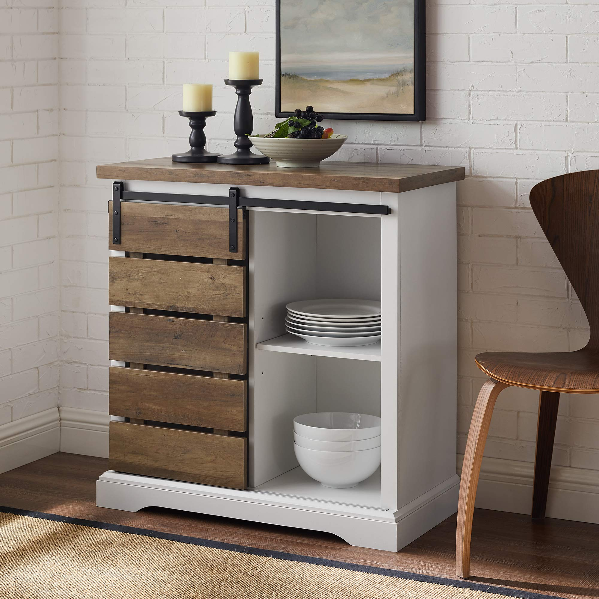 WE Furniture AZF32ALSDRO Buffet, 32'', Solid White/Rustic Oak by WE Furniture