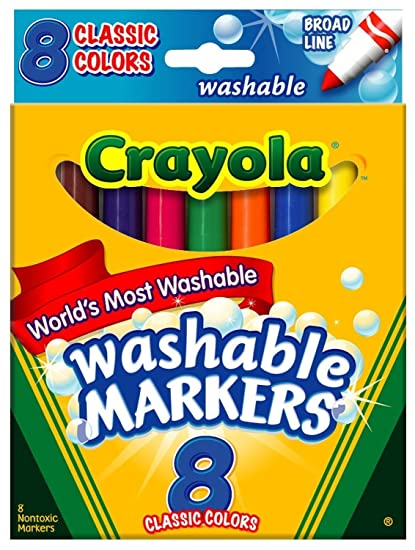 amazon com crayola washable markers broad tip classic colors 8