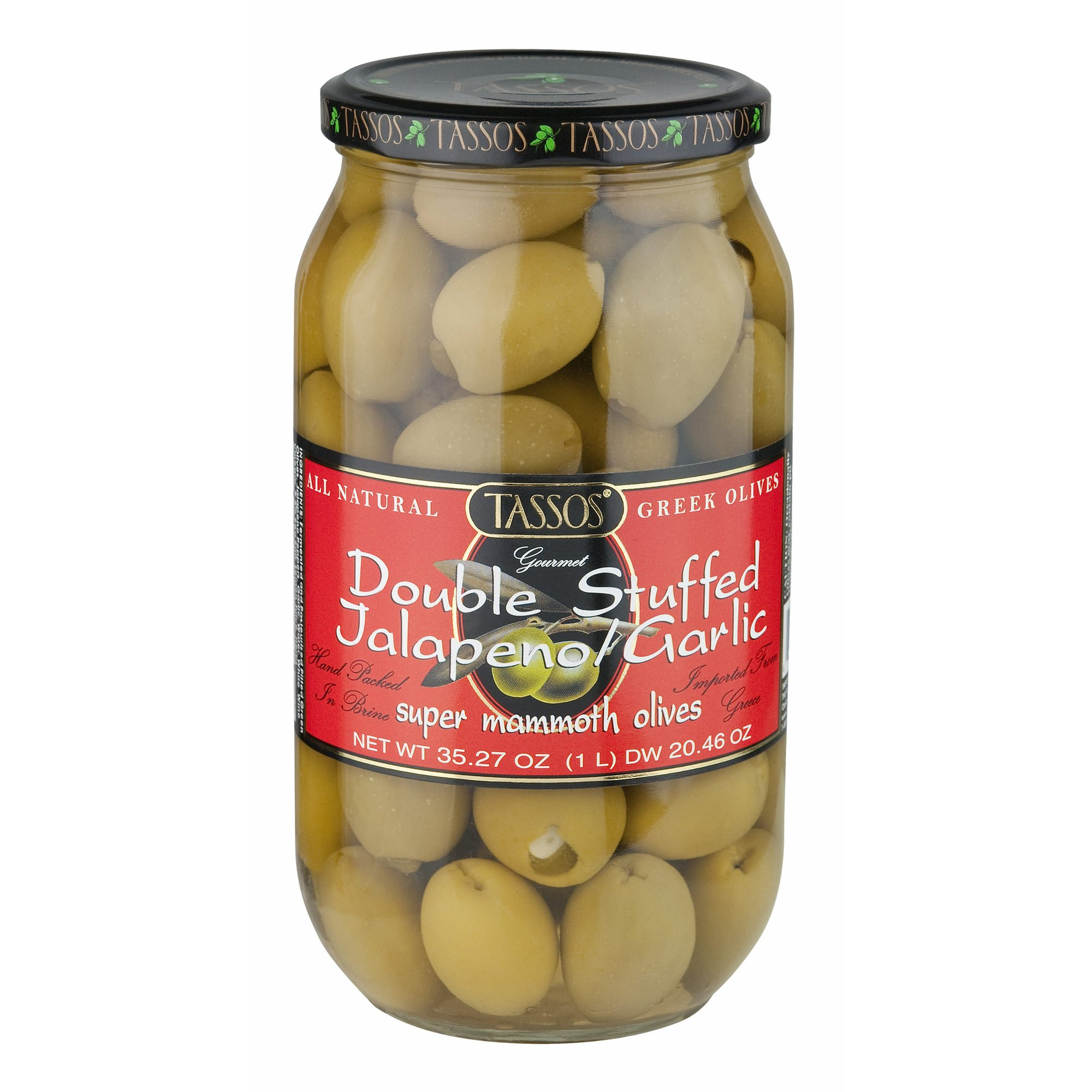 Tassos Double Stuffed Jalapeno and Garlic Olives, 1 Liter (pack of 2)