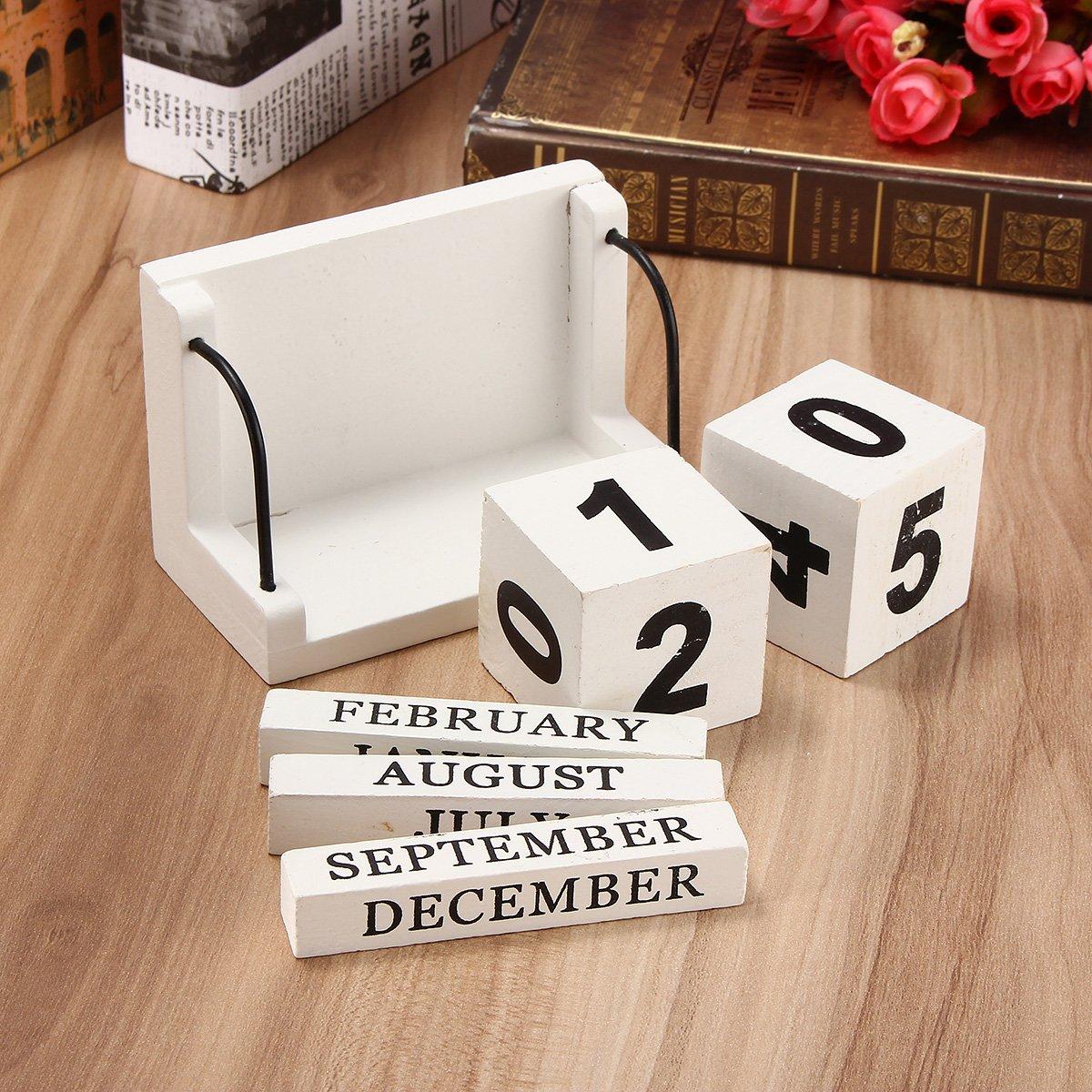 Jeteven Holz Kalender aus Würfel Dauerkalender Tischkalender Handwerk Desktop Dekoration Home Deko Haus (B)