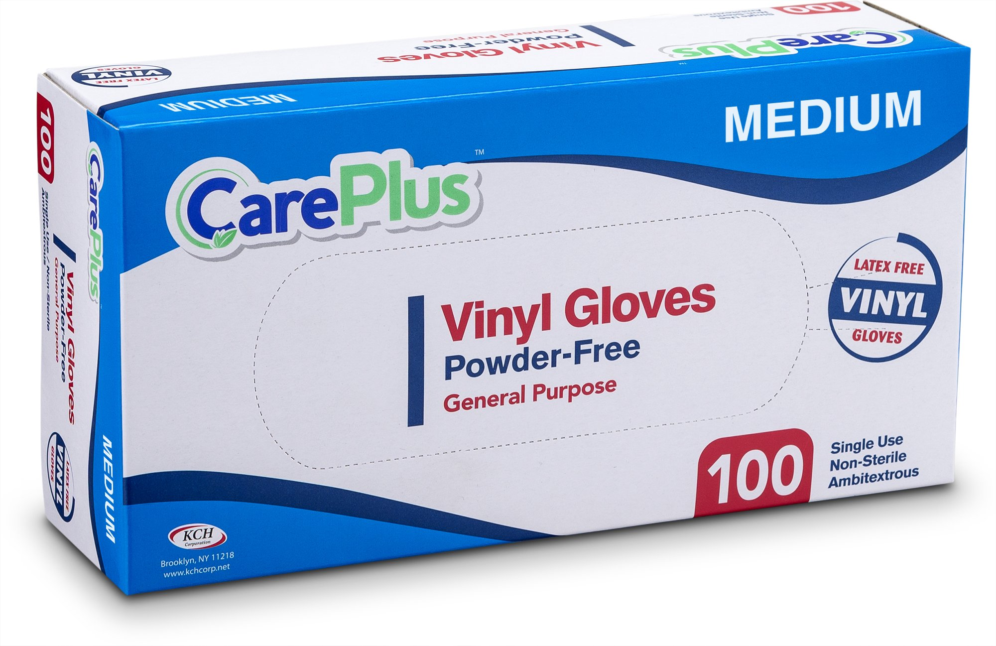 Care Plus Disposable Vinyl Gloves, Powder Free, Clear, Latex Free, Allergy Free, Medium, 100 Gloves In A Box Pack Of 10