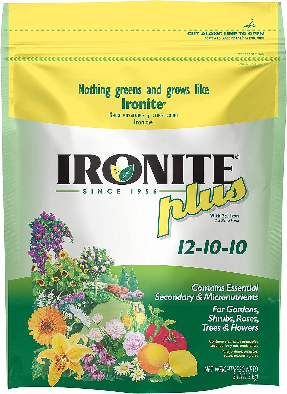 Ironite 100099053 Plus 12-10-10 Plant Fertilizer, 3 LB