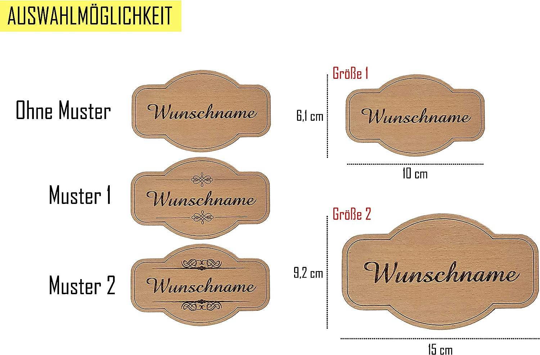 Haust/ürschild mit Gravur selbstklebend Klingelschild PISDEZ personalisiertes Vintage T/ürschild aus Holz Briefkastenschild Namensschild mit doppelseitigen Klebeband Form 1