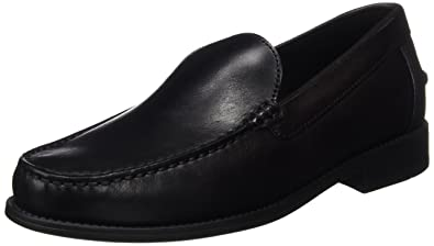 Geox U New Damon A Mens Smooth Leather Moccasins Shoes Black
