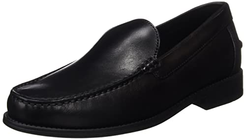 Geox U New Damon A Mens Smooth Leather Moccasins Shoes - Black-Black-9