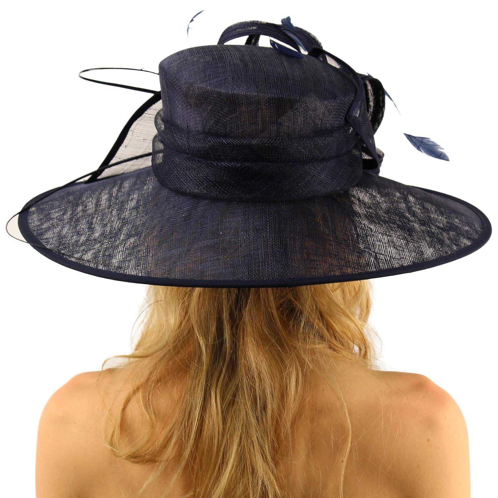British Regal Sinamy Ribbon Feathers Quill Derby Floppy Bucket Dressy Hat Navy by SK Hat shop (Image #4)