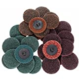 INSMA 2 Inch 30 PCS Quick-change Discs Mix Roll Lock Surface Conditioning Sanding Discs Resin Fibre Disc R-Type (Fine/Medium/Coarse Pads)