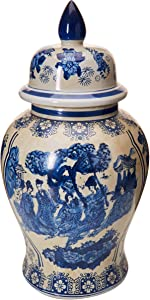 "Oriental Furniture 18"" Ladies Blue & White Porcelain Temple Jar"