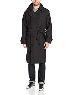 Amazon.com : Men's Full-length German Military Trench Coat - Gray ...