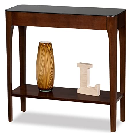 hall stand table. Retro Modern Narrow Sofa Table Console Hall Stand Wooden Warm Brown Finish With Black Glass Top T